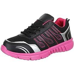 Damen Schuhe, X-14002, FREIZEITSCHUHE, TURNSCHUHE SNEAKER, Synthetik in hochwertiger Lederoptik , Schwarz Pink, Gr 39