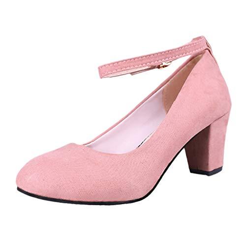 JiaMeng Mode Damen Sexy EIN Wort Schnalle Runde Kopf Rutschfeste High Heel Einzelne Schuhe Elegant Schuhe Absatzschuhe