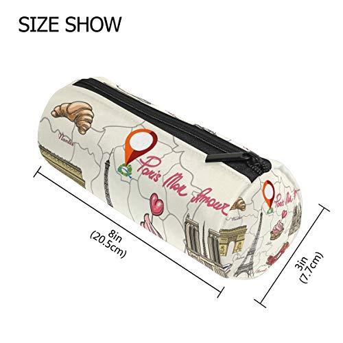 en Paris Tower High Heels Map Federmäppchen Stift Reißverschluss Tasche Münzen Organizer Make-up Kostüm Tasche für Frauen Teenager Mädchen Jungen Kinder ()
