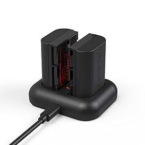 PHOTOOLEX Chargeur de Batterie pour Appareil Photo Numerique Chargeur Double Canaux pour Canon LPE6 Avec 2-pack Batterie Rechargeable 2100mAh Option de Recharge Multiple Correspond Exactement a L'original-Noir