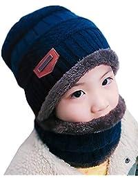 EDOTON Gorro Invierno con Bufanda Niños Calentar Sombreros Gorras Beanie de Punto para Niños de 6-14 Años
