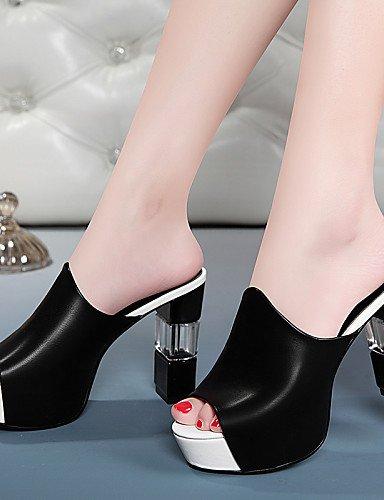 UWSZZ IL Sandali eleganti comfort Scarpe Donna-Sandali-Ufficio e lavoro / Formale / Serata e festa-Spuntate-Quadrato-Finta pelle-Nero / Bianco Black