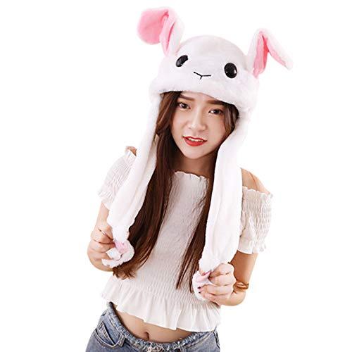Missley Movimiento Conejo Oreja Sombrero Kawaii Pascua de Resurrección Conejito Gorra Animal Cosplay Lujoso Vestido Encantador Regalos para Mujer Chicas (Blanco-2)