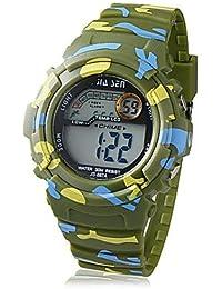 Fenkoo Niño Reloj Deportivo Cuarzo LCD Caucho Banda camuflaje Verde Marca-
