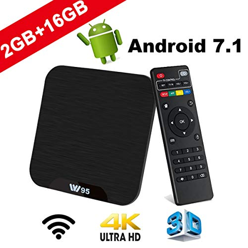 TV Box Android 7.1 - VIDEN W2 Smart TV Box Amlogic Quad Core, 2GB RAM & 16GB ROM, 4K*2K UHD H.265, HDMI, USB*2, WiFi Media Player, Android Set-Top Box