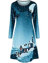 Frauen Weihnachtsdruck langes Hülsen Kleid Damen Abend Partei Knielanges Kleid  YunYoud partykleid herbstkleid minikleid freizeitkleid… e41b452699