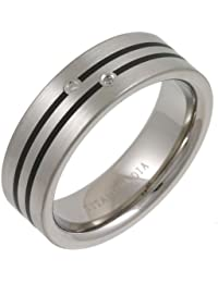 Theia Titanium and Enamel Inlay Flat Court 0.02ct Diamond Matt 7 mm Ring
