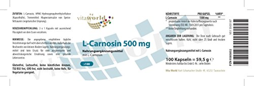 Vita World L-Carnosine 500mg 100 vegetarian Capsules Made in Germany