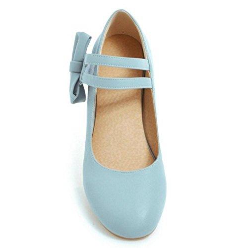 TAOFFEN Donna Moda Fiocco Scarpe Col Tacco Blue