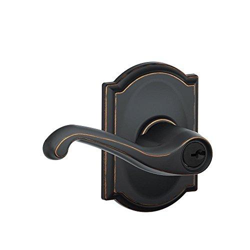 Schlage F51A Türschloss mit Schlüssel Camelot Bronzefarben -