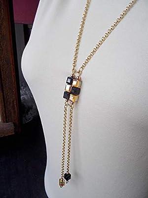 Sautoir en cristal Swarovski, cubes noirs et or
