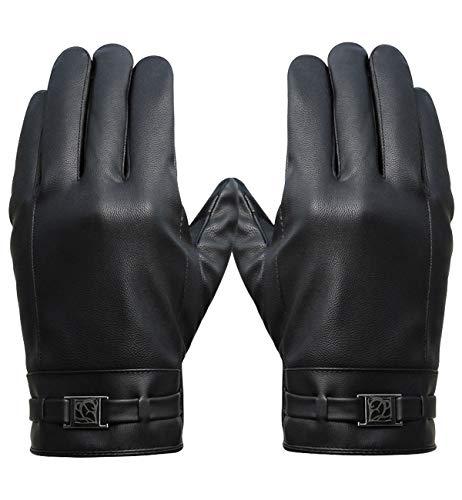 Alleza guanti uomo invernali in pelle pu touch sreen guanti felpa fodera caldi da moto bici outdoor