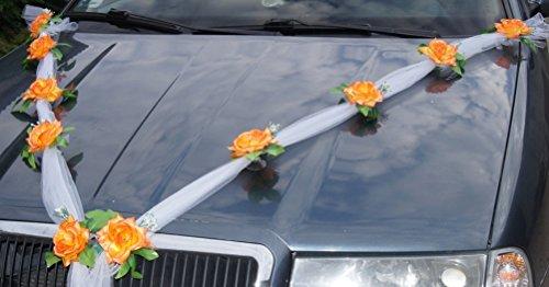 Voiture décoration voiture Décoration Guirlande avec Tulle et roses orange 1,70 m avec ventouses