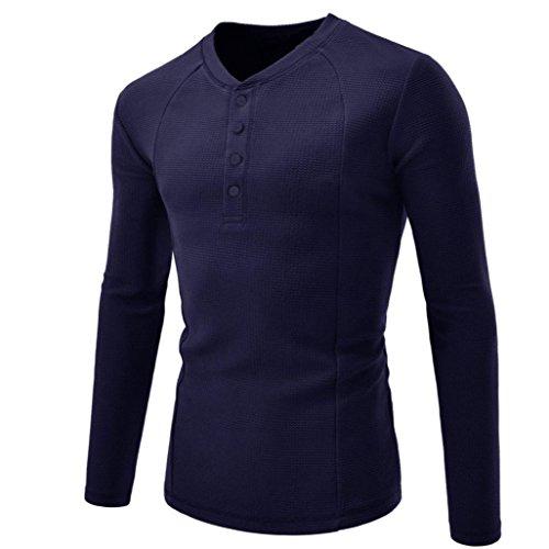 VENMO Männer Shirts Herbst Neue Herren T-Shirt Shaped Long Tee mit Rundhals Männer Hemd Fashion Solid Color Tops Männliches beiläufiges langes Hülsen-Hemd Blouse (XXXL, Navy) -