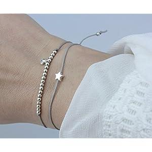 SCHOSCHON Damen Symbol Armband Set Stern/Zirkonia Silber-Grau, 925 Silber Individualisierbar // Geschenkidee Weinachten Frauen Textilarmband Freundschaftsarmband