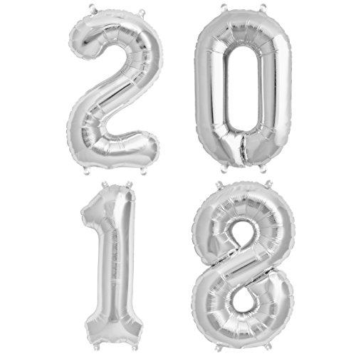 ballonfritz Ballon Zahl 2018 Set in Silber - XXL 40