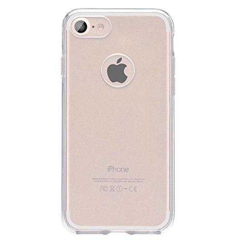 Cover Iphone 7, Lincivius®, Custodia Iphone 7 [Full Cover 360 BUMPER] Full Body Case TPU Silicone Accessori Protettiva Ultra Slim TRASPARENTE 2 in 1 Bumper Anteriore E Posteriore - Colore Oro Trasparente