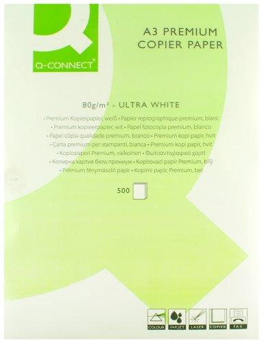 Q-Connect Kopierpapier, für Laserdruck geeignet, hochwertig, A3, 80g/m², Weiß, Ries