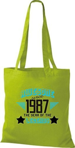 shirtstown Borsa di stoffa Impressionante SINCE 1987 The Year of the LEGGENDE Lime