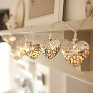 10 Silver Filigree Heart Battery Operated LED Fairy Lights by Lights4fun