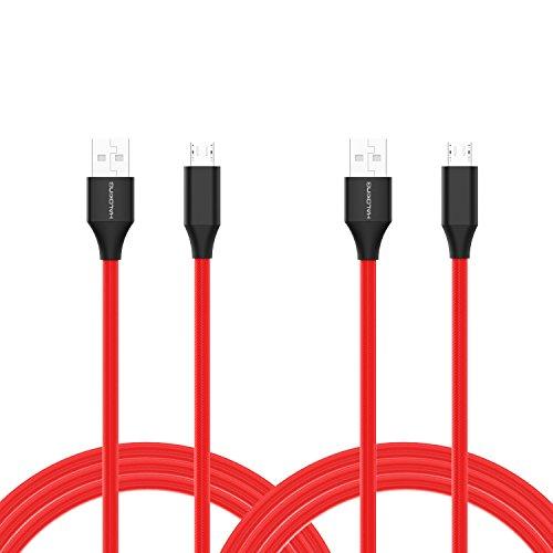 [2-Pack] Nylon geflochten Micro USB-Kabel 6ft, Haloking schnell aufladen & Synchrokabel für Android, Samsung, Amazon Kindle, LG, Nexus, PS4, Xbox-rot (6ft Micro-usb-kabel)