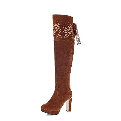 AllhqFashion Damen Weiches Material Ziehen auf Rund Zehe Hoher Absatz Hoch-Spitze Stiefel, Weiß, 37