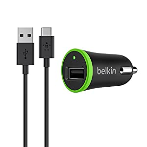 Belkin USB Car Charger with Removable USB-A to USB-C Charge and Sync Cable (Works with Google Pixel), 2.1 A, 10 W, Black