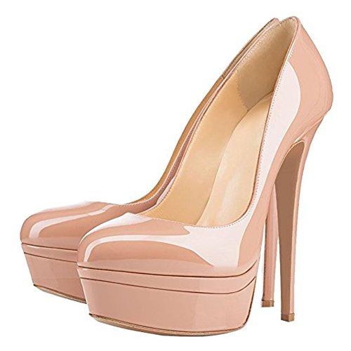 Damen Open Toe Plateau Stiletto High Heel Pumps Schluepfen Party Schuhe Nackt