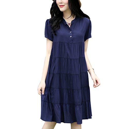 Zhhlinyuan Pregnan Women Fashion Short Sleeves Dress Maternité Dress Loose Casual Dresses Cotton Dark Blue