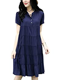 Zhhlinyuan Pregnan Women Fashion Short Sleeves Dress Maternidad Dress Loose Casual Dresses Cotton