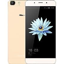 """Hisense C1 - Smartphone 4G con pantalla 5.5"""" Super AMOLED HD (Procesador MSM8929 Octa-Core 1.36GHz, 2 GB de RAM, 16 GB de memoria interna, cámaras de 13 MP y 5 MP, Android 5.1, Dual SIM) color blanco-dorado"""