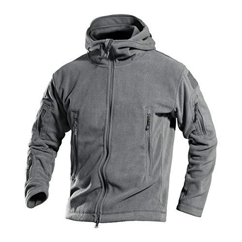 Men 's Warm Military Hunting Tactical Fleece Jacket Mens Combat Jackets Full Zip with Hoodie Grey Small -