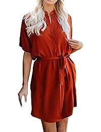 Las Rebajas! Vestidos De Camisa para Mujer, Manga Corta, Sólido, Suelto,