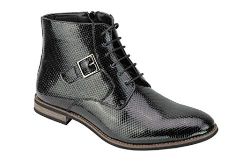Xposed stivaletti alla caviglia da uomo, in finta pelle di serpente, con zip e lacci, nero (nero), 40 eu