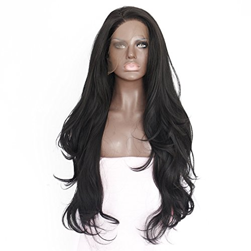 26 Inches Black Long Wavy Women Ladies Heat Resistant Lace Front Wig With Cap