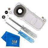 MMOBIEL Rück Back Kamera Linse Glas für LG G4 (Weiss) Ersatzteil + Klebepads und 2 Schrauben und Schraubenzieher mit Mikrofaser Tuch und Rahmen