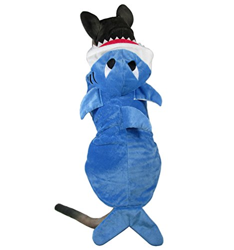 Yuncai Lustige Groß Hund Halloween Kleidung Stereoskopisch Hai Verkleidung Party Cosplay Kostüme für Haustier Blau 4XL (Hund Hai-kostüm)