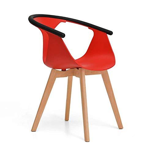 Smzzz sedie sala da pranzo cucina sedile in plastica gambe in legno massiccio sedia moderna per il tempo libero bianca
