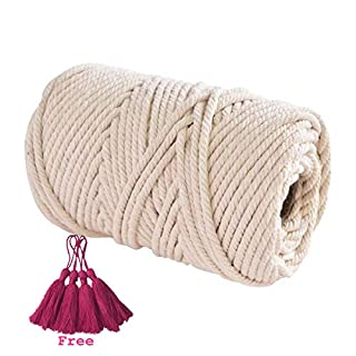Macrame Cord Rope Handmade Decorations Aosika 100% Natural Cotton Bohemia Macrame DIY Wall Hanging Plant Hanger Craft Making Knitting 4mm Cord Rope Gift Four Tassels