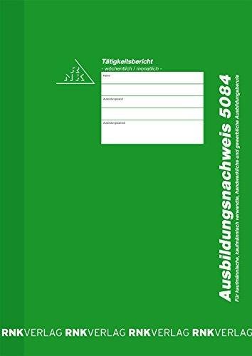 Preisvergleich Produktbild RNK Ausbildungsnachweis wöchentliche/monatliche Eintragung/5084 grün