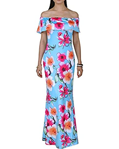 BIUBIU Women's Floral Off Shoulder Ruffle Bodycon Long Party Maxi Dress Style Blue Print #2 (Thickened) UK 14