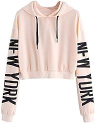 Sweatshirt Femme Imprimé, LMMVP Femmes Sweat à Capuche Des Lettres Pullover Sweat-shirt Chemisier Polyester (S, Beige)