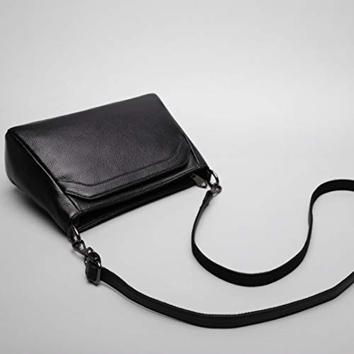 Uzanesx Echtes Leder Crossbody Tasche Geldbörse für Frauen Vintage Message Wallet (Color : Black) -