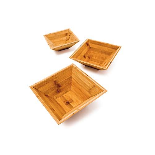 Relaxdays Bambus Schalen im 3er Set als schicke Dekoschale und Obstschale quadratische Schälchen in 3 verschiedenen Größen Snackschale aus Holz ineinander stapelbar auch als Gebäckschale ideal, Natur