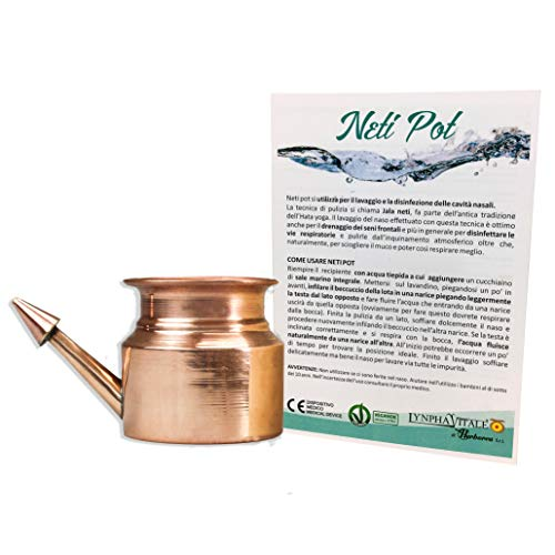 Neti Pot Antibactérien en cuivre de tradition ayurvédique pour l'irrigation  et le lavage nasal - Format moyen 200 ml - Neti Lota Dispositif Médical