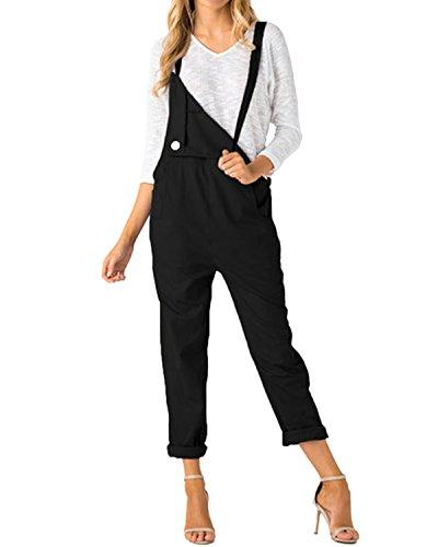 ACHIOOWA Donna Salopette Jeans Lunga Nuovo Elegante Moda Tasche Ufficio Sciolto Solido Colore Nero 2XL
