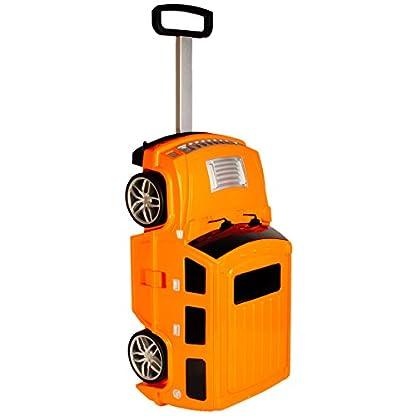 alles-meinede-GmbH-3-in-1-groer–Kinder-Trolley-Sitz-Koffer-Auto-Jeep-Truck-orange-Sitzkoffer-zum-Ziehen-Schieben-Sitzen-Spielen-Jungen-Trolly-mi