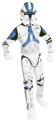 (Star Wars - Clone Trooper Klonkrieger Kinderkostüm, Overall und Halbmaske - M)