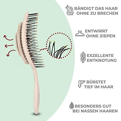 Ninabella®️ Bio Haarbürste ohne Ziepen, Profi Entwirrungsbürste, Einzigartige Detangler-Bürste mit Spiralfeder, Anti-Ziep-Haarbruch-Knoten-Spliss-Bürste - 2