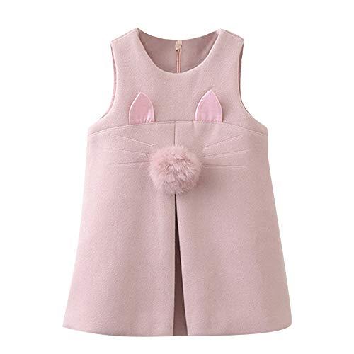 Yanhoo Kindermode Mädchen Bestickt Kleid Armellose Bälle Katze Ohr Bestickt Tank Kleid Pink ()
